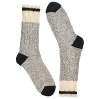 Chaussettes épaisses, mél. laine gris/noir, femmes