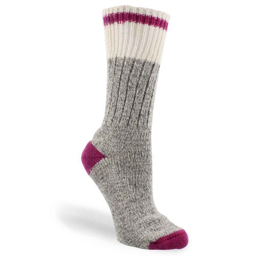 Lds Duray grey/pnk wool blend heavy sock
