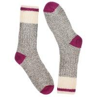 Chaussettes épaisses, mélange laine grs/rse, femme