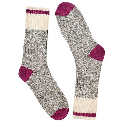 Women's grey/pink wool blend heavy socks