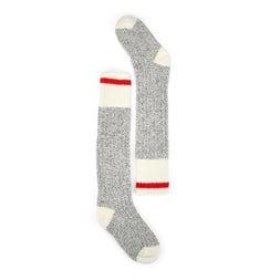 Lds Duray grey/wht wool blend tall sock