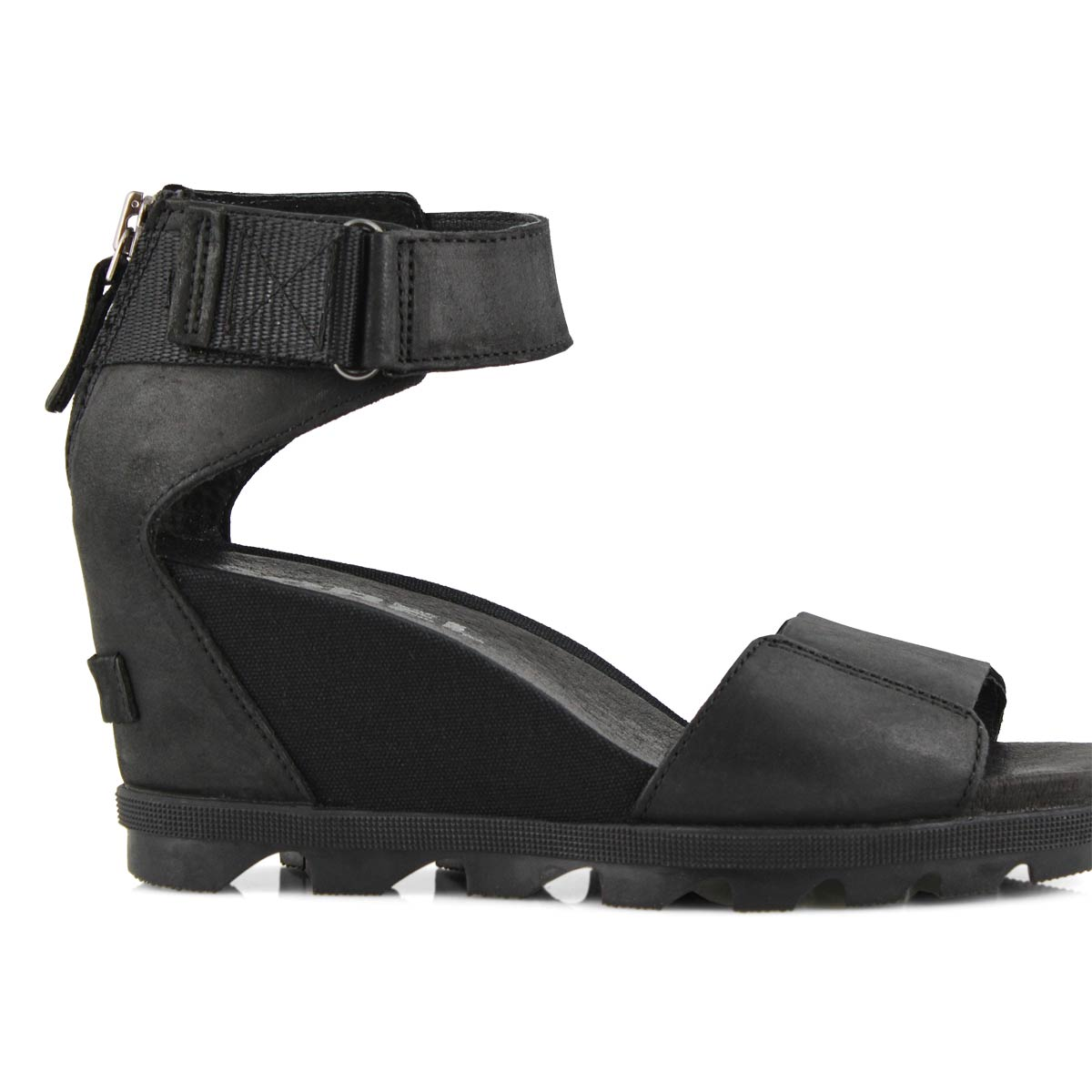 Lds Joanie II Ankle Strap blk wedge sndl