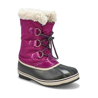 Girls' YOOT PAC nylon plum waterproof snow boot