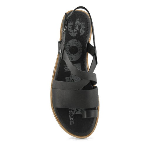 Lds Ella Criss Cross black casual sandal