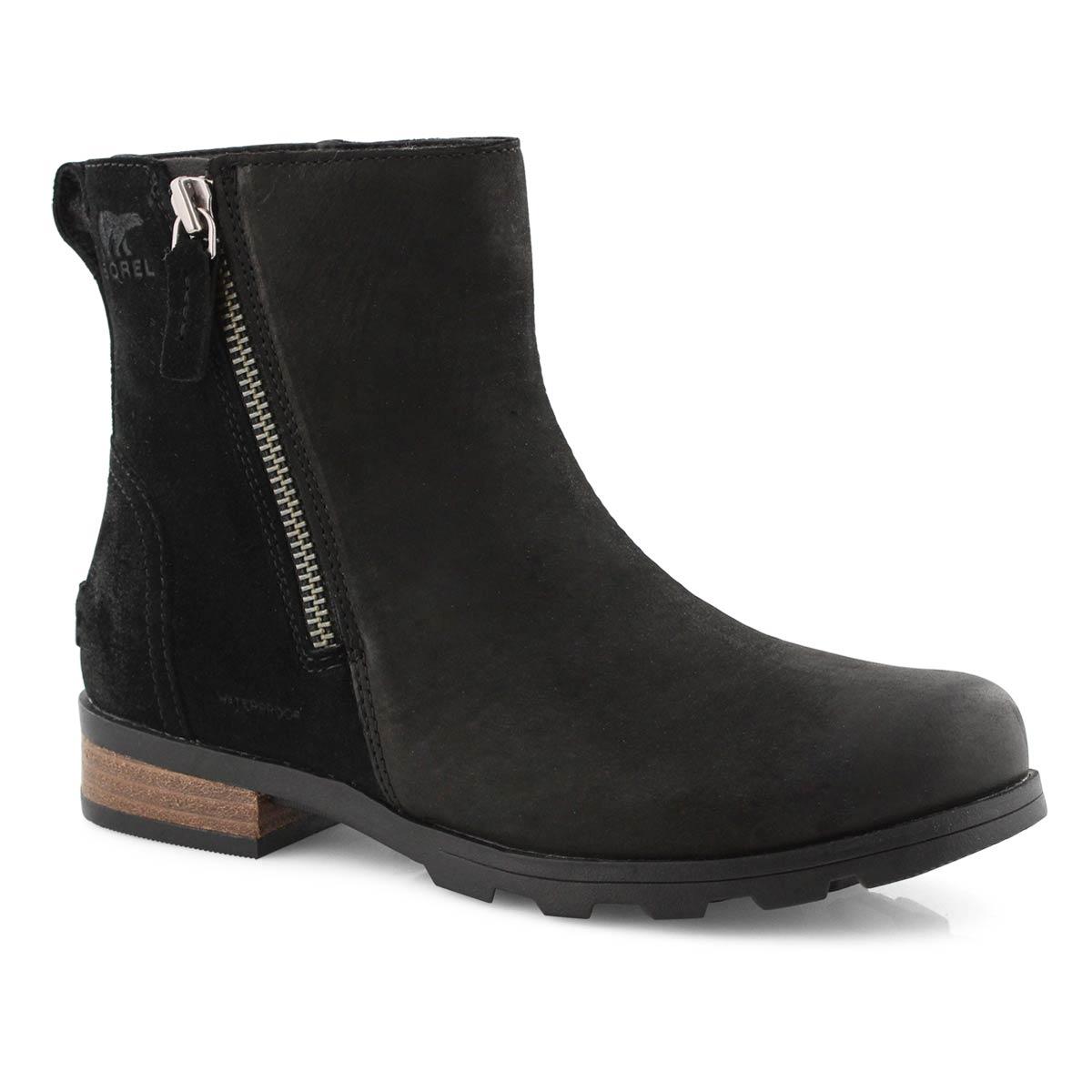 Lds Emelie Zip black wtpf ankle boot