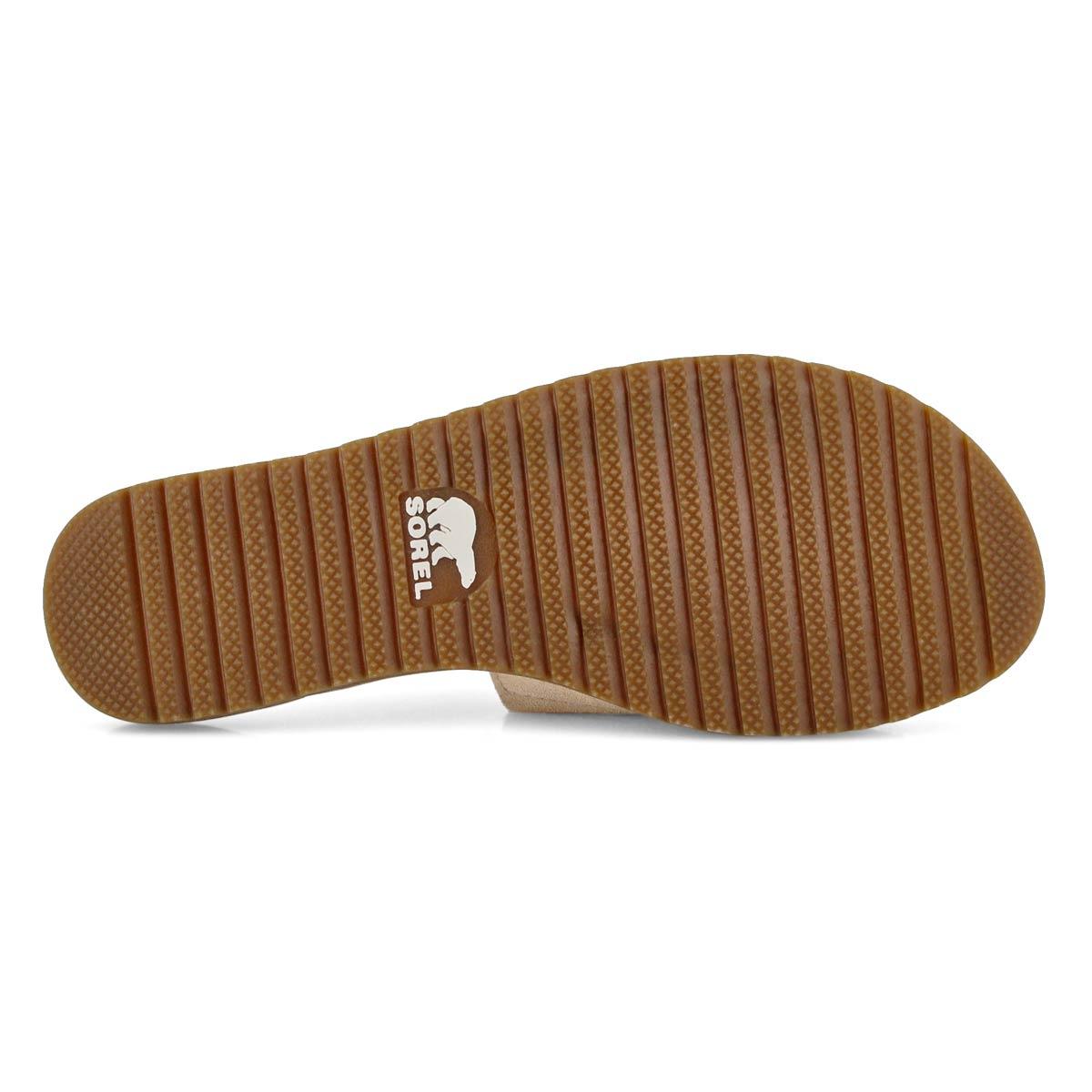 Lds Ella Block tan casual slide sandal