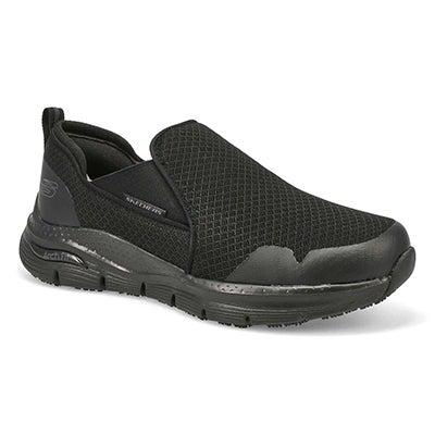 Mns Tineid Slip Resistant Sneaker- Black