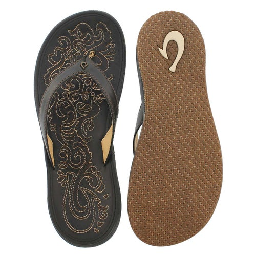 Sandale tong Paniolo, noir/noir, femmes