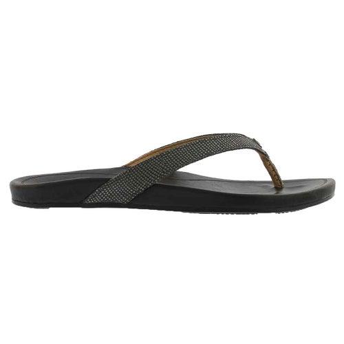 Sandale tong Hi'ona, étain/noir, fem