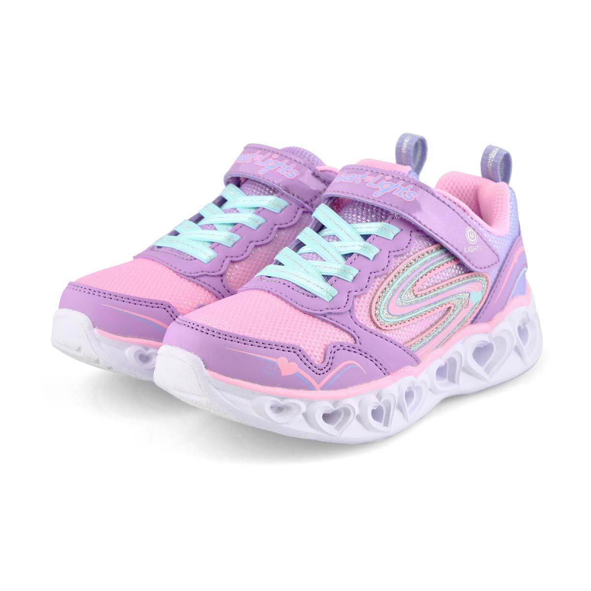Girls' Heart Lights Sneakers - Lavender/Multi