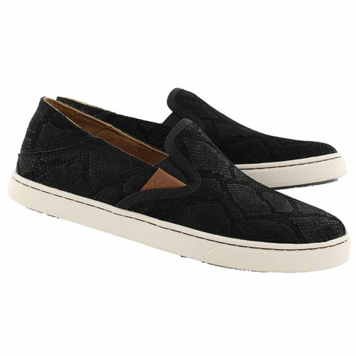 Lds Pehuea Leather blk slip on shoe