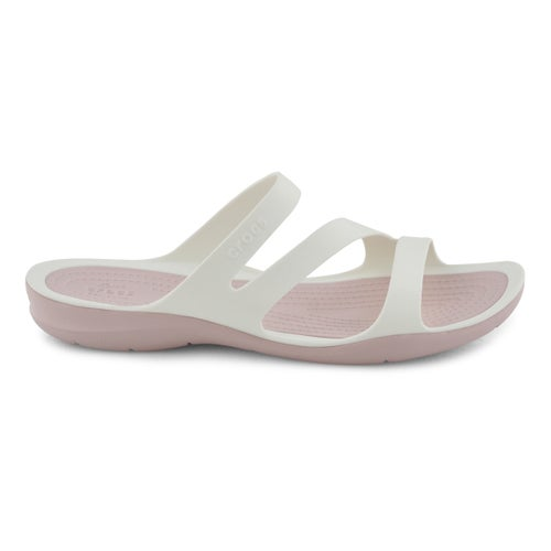 Lds Swiftwater wht/rose slide sandal