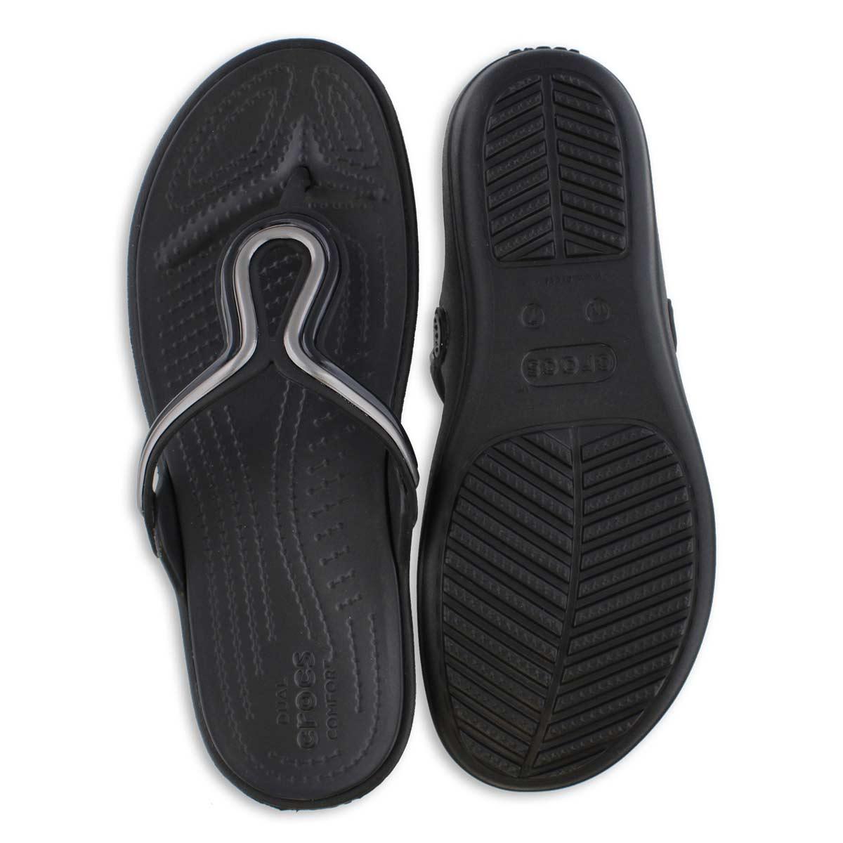 Women's Sanrah Metal Block Thong Sandal - Black