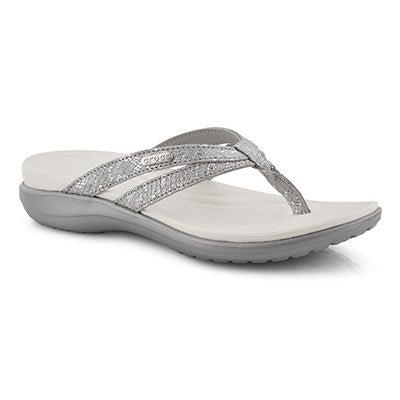 Lds Capri Strappy silver thong sandal