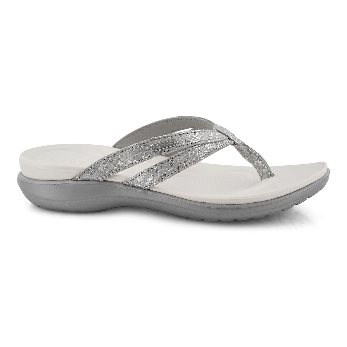 Women's Capri Strappy Thong Sandal - Silver