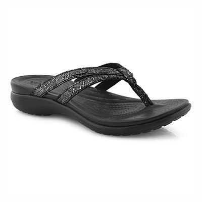 Lds Capri Strappy black thong sandal