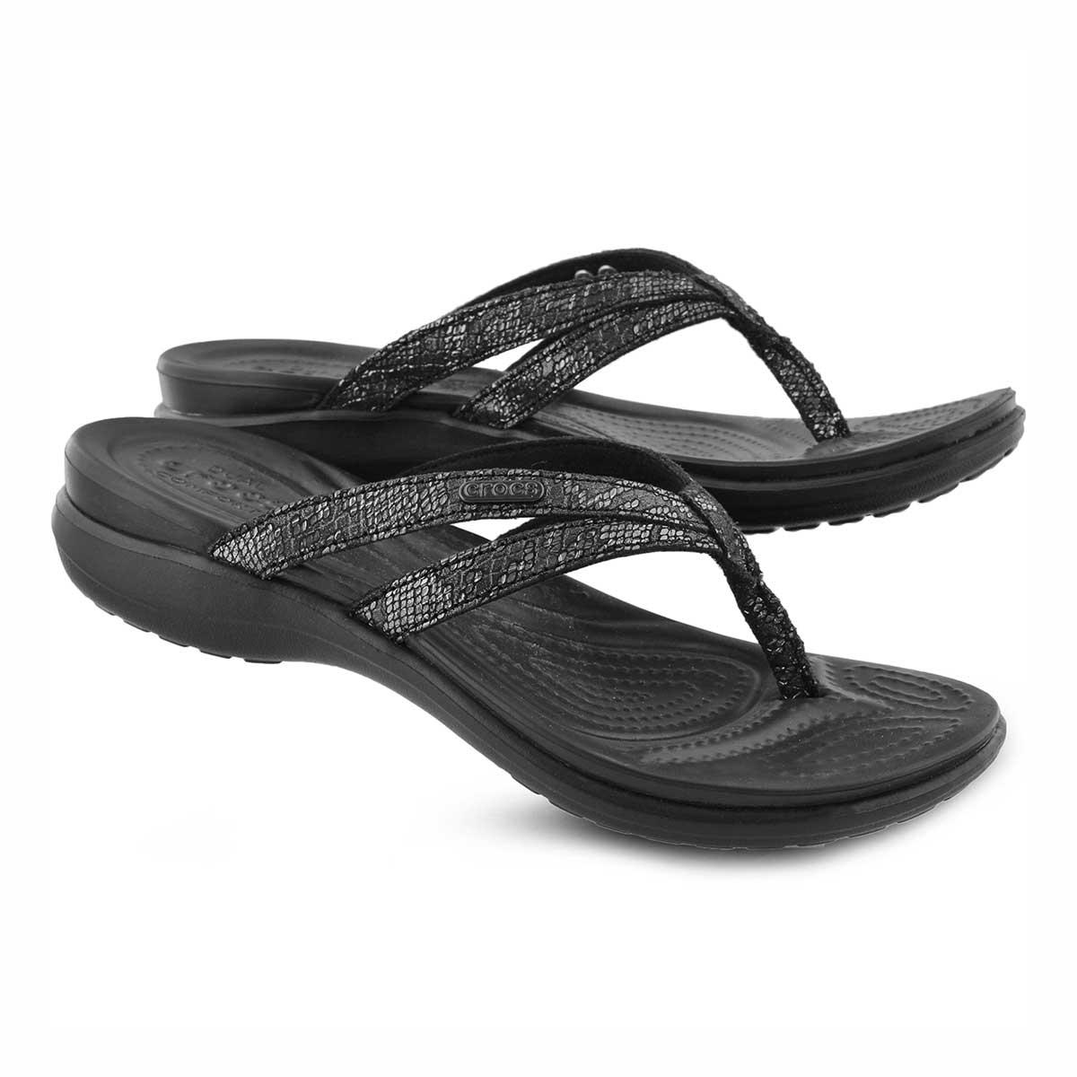 Women's Capri Strappy Thong Sandal - Black