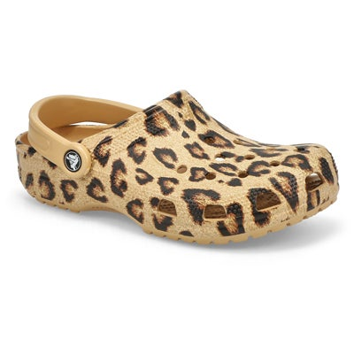 Lds Classic Printed Clog- Leopard/Gold