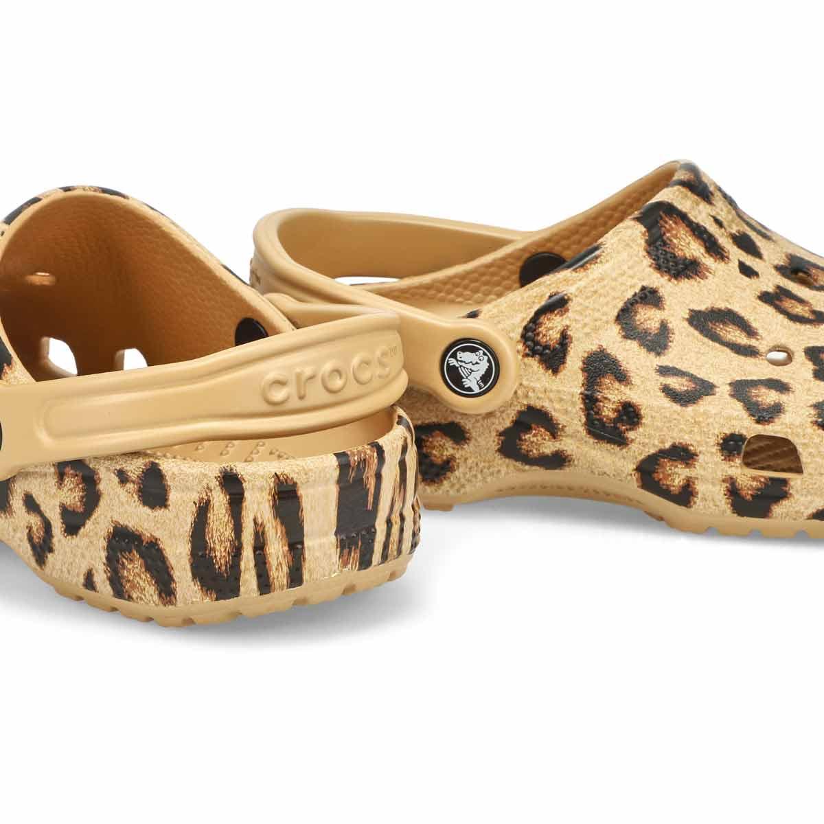 Women's Classic Printed Clog - Leopard/Gold