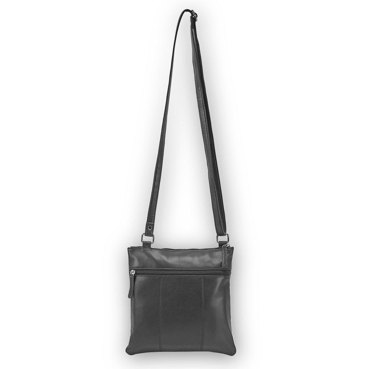 Sac à bandoulière 215-RFID, cuir, noir, femmes