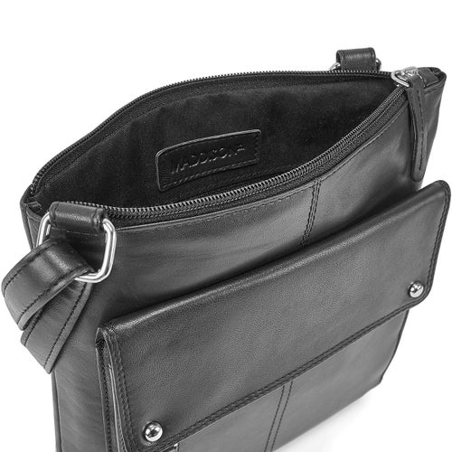 Lds blk sheep leather RFID crossbody bag