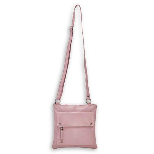 Lds pink sheep lthr RFID crossbody bag