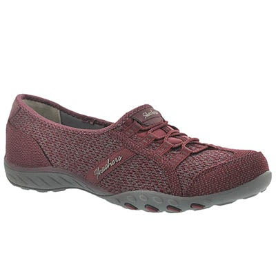 Skechers Women's BREATHE-EASY burgundy slip on sneakers