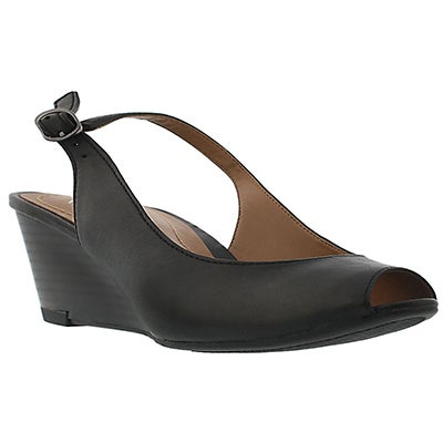 Clarks Women's BRIELLE APRIL black wedge dess sandals
