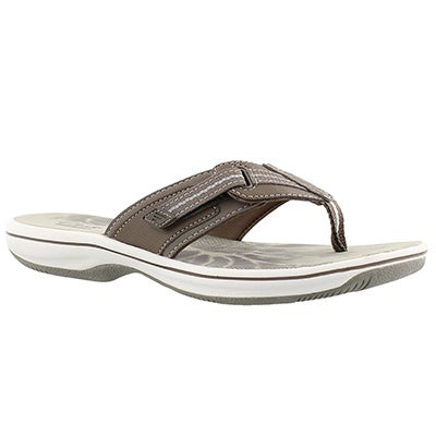 Clarks Women's BRINKLEY JAZZ pewter thong sandals