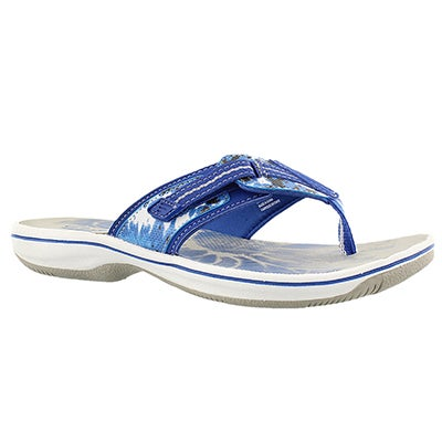 Clarks Women's BRINKLEY JAZZ blue camo thong sandals
