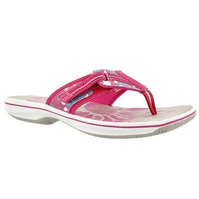 Clarks Women's BRINKLEY JAZZ pink camo thong sandals