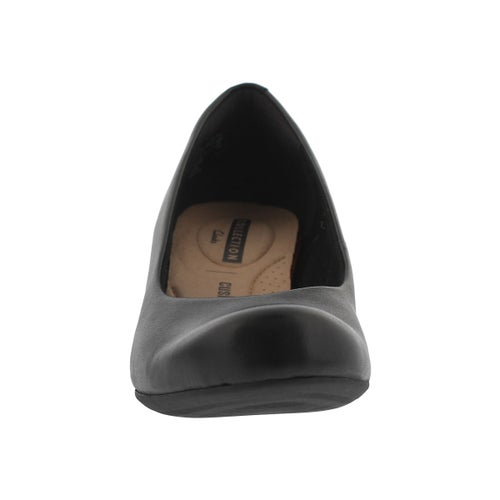 Lds Flores Tulip blk leather dress wedge