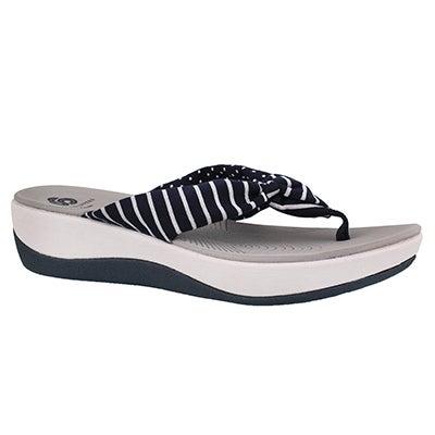 Women's ARLA GLISON navy print thong wedge sandal