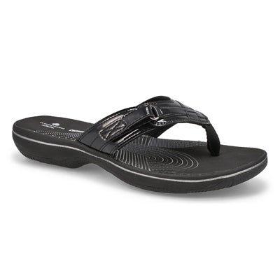 Sandale tong Breeze Sea, noir verni, fem