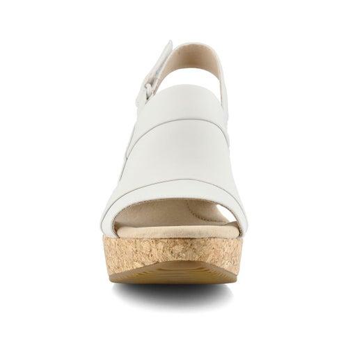 Lds Annadel Ivory wht lthr wedge sandal
