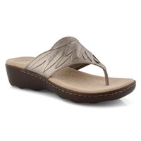 Women's PHEBE PEARL pewter wedge thong sandals