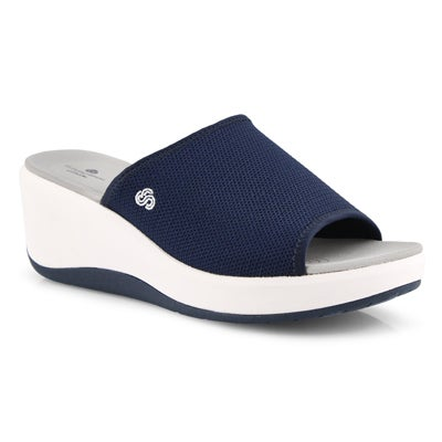 Lds Step Cali Bay nvy wedge slide sandal