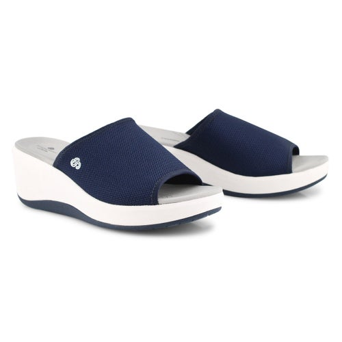 Lds Step Cali Bay nvy wedge slide sandal