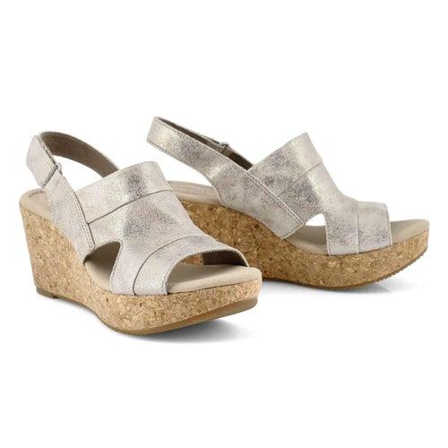 Lds Annadel Ivory pewter wedge sandal