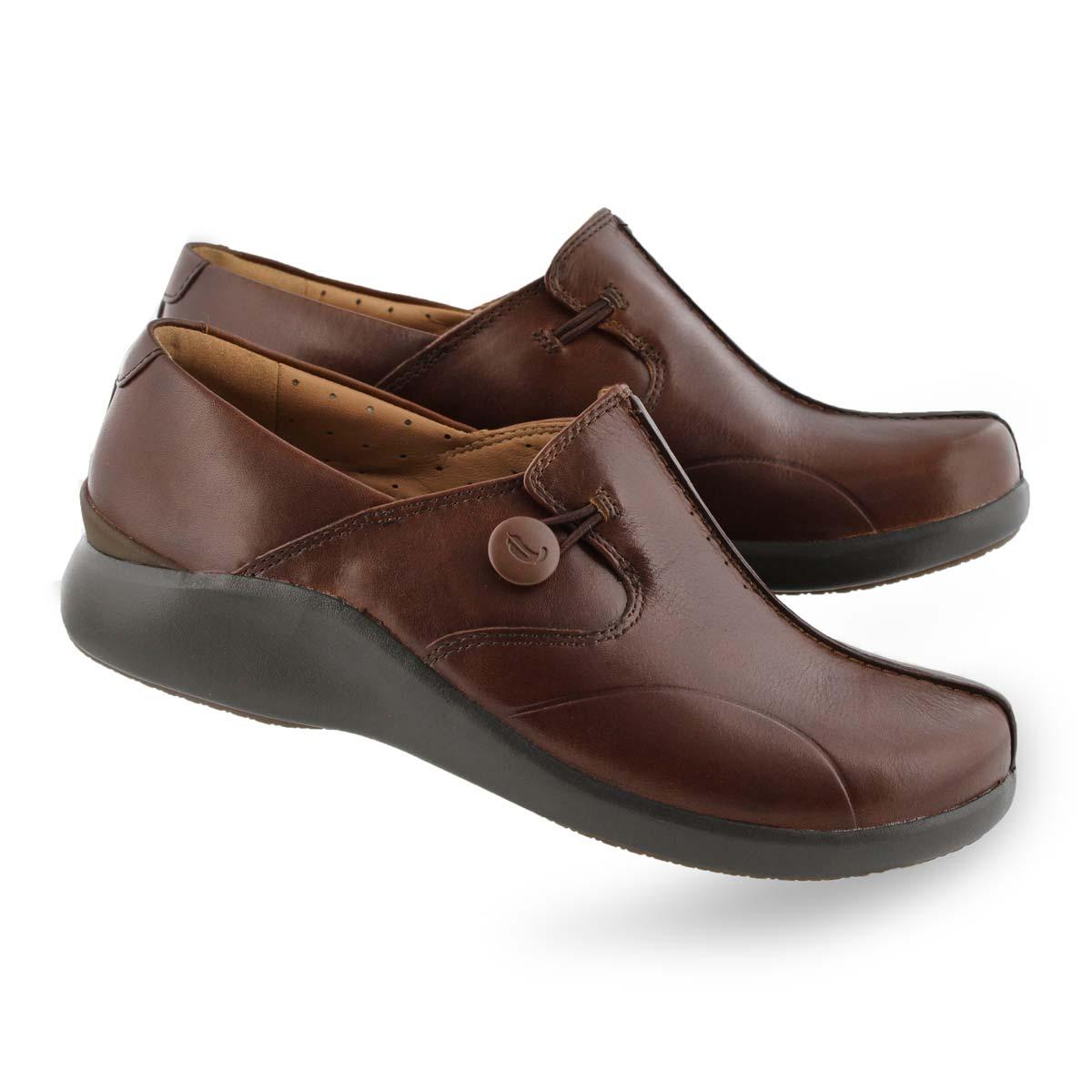 Women's UNLOOP 2 WALK dark tan casual shoes - Wide