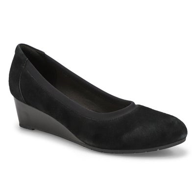 Lds Mallory Berry blk suede dress wedge
