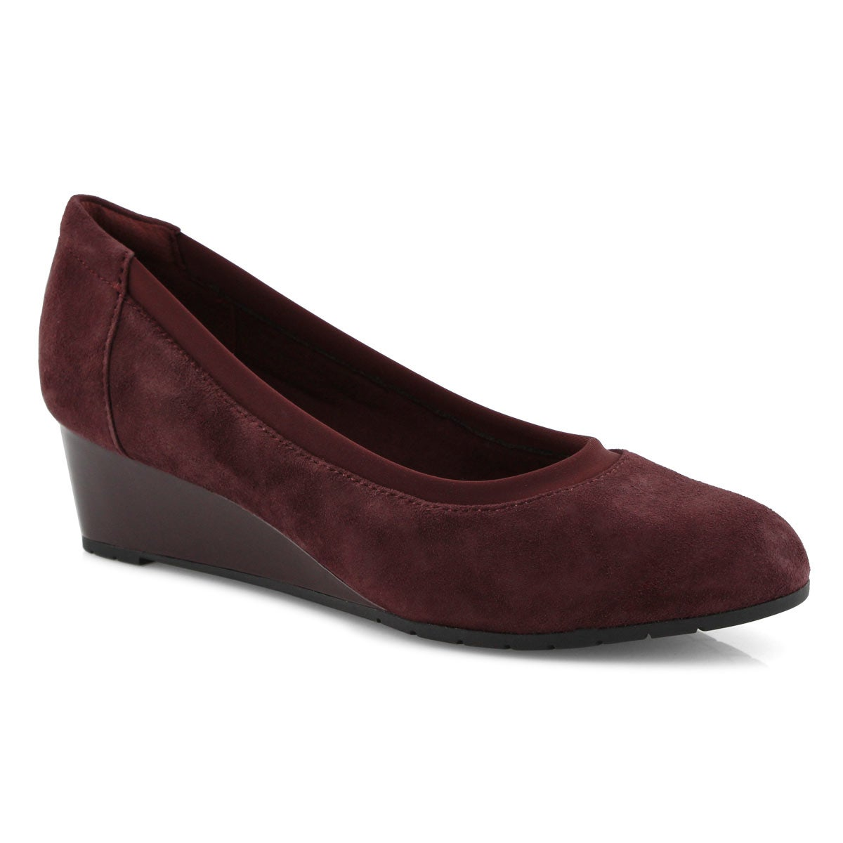 Lds Mallory Berry burgundy dress wedge