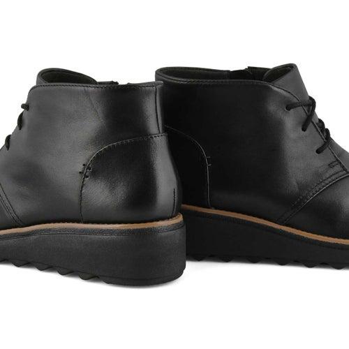Lds Sharon Hop black lthr ankle wdg boot