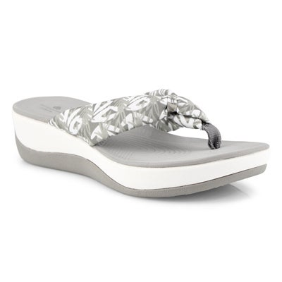Women's ARLA GLISON floral grey thong wedge sandal