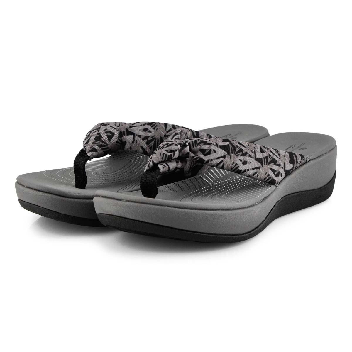 Women's Arla Glison Thong Wedge Sandal - Flor Blk
