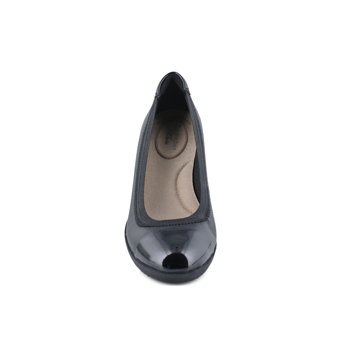 Lds Elin Palm black low dress wedge