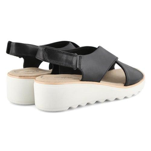 Lds Jillian Jewel black wedge sandal