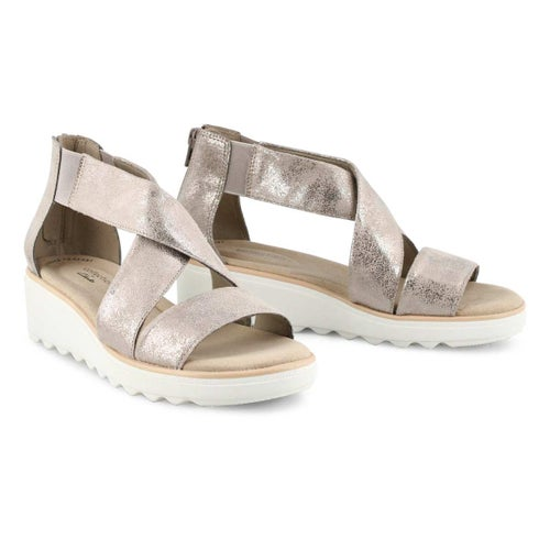 Lds Jillian Rise pewter wedge sandal