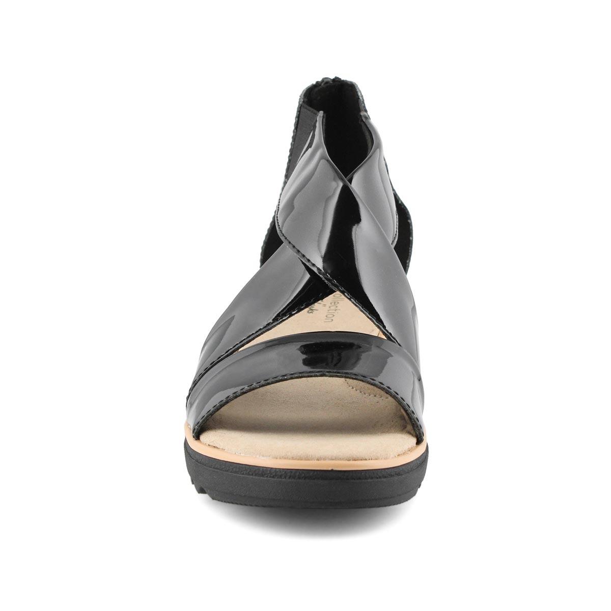 Lds Jillian Rise black pat wedge sandal