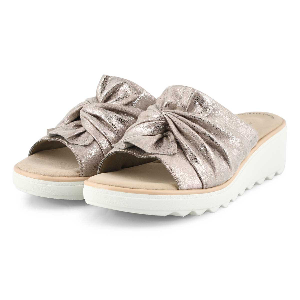 Lds Jillian Leap pewter wedge sandal
